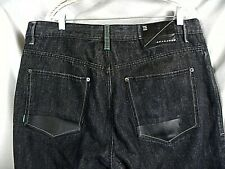 Mens Sean John Black Jeans Baggy Hip Hop Relaxed Leather Trim Pockets 38x27