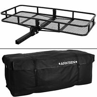 "60"" x 25"" Cargo Hauler Carrier Hitch Mounted Receiver Luggage Basket + Bag Combo"
