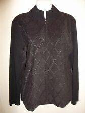 Embroidered Black Velour Sweater Cardigan Jacket Women's Size M/L