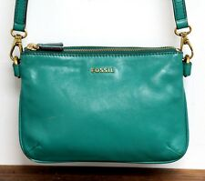 Fossil EMERALD GREEN COW HIDE LEATHER ZIPPERS ORGANIZER X-BODY MESSENGER BAG
