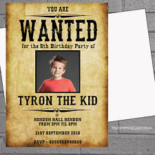 Personalised Wanted Poster Photo Kids Birthday Party Invitations x 12+envs H0175