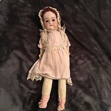 VINTAGE EARLY 1900's GERMANY 390 2.M PORCELAIN HEAD 18'' DOLL W/ CLOTHING