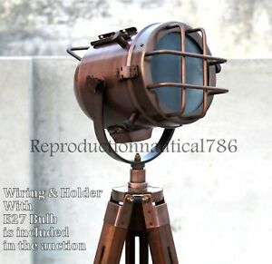 Handmade Copper Floor Lamp With Wooden Tripod Marine Studio Searchlight Decor
