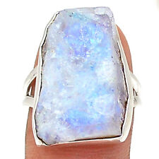 Moonstone Rough 925 Sterling Silver Ring Jewelry s.8 RR70482