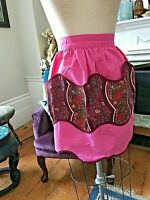 Half Apron Cocktail Vtg 60s Hot Pink Brown Floral Cotton 5 pockets Scalloped
