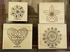 Stampin' Up POLKA DOT PUNCHES Set 4 Wood Mounted Rubber Stamps Lot Flower Heart