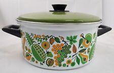 Mid-Century Enamelware Steel Pot & Lid-1970s Vintage Mod Fruit Yellow&Green