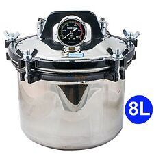 8L Portable Steam Autoclave Sterilizer for Dental Medical Stainless Steel Seal
