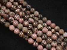 Gemstone Beads Rhodonite 8mm Round Beads 35cm Strand Jewelry FREE POSTAGE