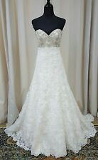 NEW Mori Lee Bridal Gown Wedding Dress 2678 Ivory A Line Crystal Lace SZ 10