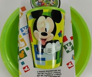 Disney Mickey Mouse 3 Piece Dinner Set Plate Cup Bowl Gift Box New Plastic