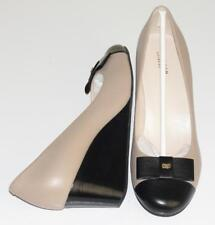 COLE HAAN~NWOB~$180.00~NUDE TAN/BLACK~LEATHER *ELSIE* BOW WEDGE SHOES PUMPS~9