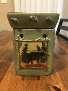 Retired Scentsy Lodge Woodland Full Size Warmer Bear Moose Trout Trees