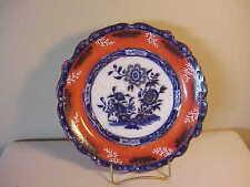 RARE SET THREE ANTIQUE ORANGE & COBALT FLOW BLUE DINNER PLATES - CANTON MARKING