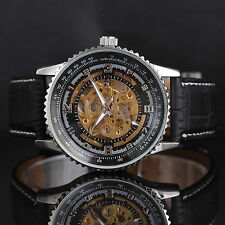 Super Cool Skeleton Automatic Mechanical Men Watch Luxury Black Leather Band NO1
