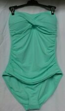 Anne Cole Women's Twist Front Shirred Turquoise One Piece Swimsuit Size 12 NWT