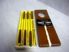 Set 12 Retro Fondue Forks Stainless Japan 6 NIB Colored  Tab Ends Wood Handles