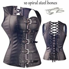 Sexy Black Corset Punk Lace Up Strapless Top Goth Bustier shaper Plus Size XZD