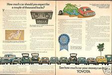 1973 2 Page Print Ad of Toyota Full Line Land Cruiser Corolla Mark II Pickup