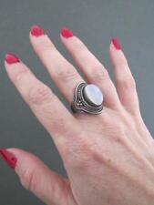 Vintage Moonstone Filigree Silver Ring