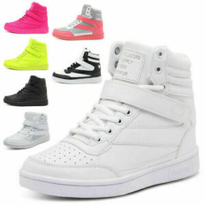 Women Hidden Wedge Heel Sneakers Trainers Casual Ankle High Top Lace Up Shoes