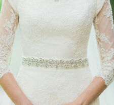 UK - AUDREY Silver Pearl and Rhinestone Diamante Bridal Sash Wedding Dress Belt