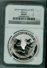 AUSTRALIA 2011-P $1 .999 1 OZ. SILVER KOALA BEAR NGC MS-69 GEM BU