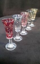Antique Bohemian Colors Cut To Clear Crystal Pedestal Cordial Liqueur Glasses