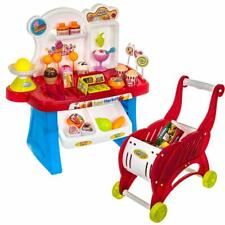 Kids role play supermarket counter and trolley set with shopping accessories H29