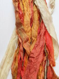Recycled Sari Silk Ribbon pack - Autumn Mix