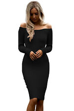 Abito Nudo aderente Scollo Costine Casual Party Ballo Ribbed Knit Bodycon Dress