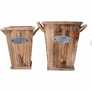 Two Piece Square Wooden Rustic Planters Garden Flower Pot Bucket Set