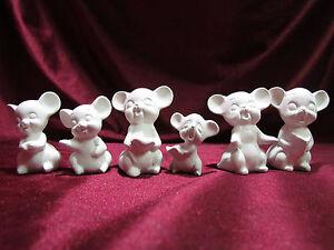 Ceramic Bisque Set of 6 Caroler Caroling Mice U-Paint Christmas
