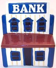 Vintage Ceramic Pottery Still Bank in the Shape of a Bank Building
