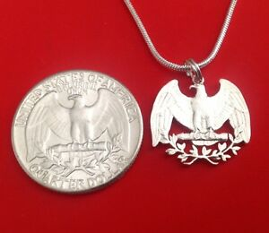 Silver Quarter USA US Patriotic American Eagle Cut Coin Jewelry Store