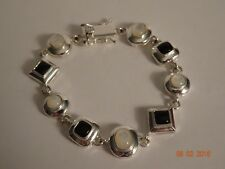 "Sterling Silver Black Onyx & White Mother of Pearl Bracelet-7 1/4""Long by 1/2"" W"