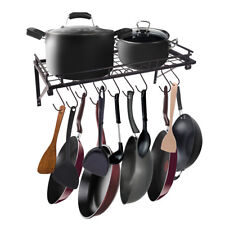 Wall Mount Kitchen Pot Organizer Stand Pan Storage Rack Holder Shelf With Hooks
