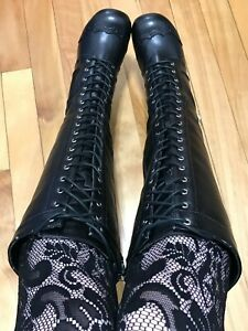 TUK Black Gothic Lolita Victorian Lace Up Boots 6.5 7 Hot Topic Demonia Goth Y2K