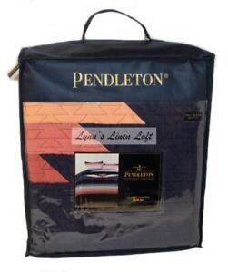 PENDLETON Sunset Canyon Southwestern FULL/ QUEEN QUILT SHAMS SET Navy Terracotta