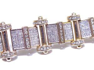 Mens 14k Rose Gold 15.00ct Round & Princess Cut White Diamond Bracelet