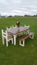 rustic farmhouse dining table 4 chairs and bench 180cm 90cm any size