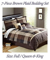 7-Piece Brown Taupe Tones Elliot Plaid Bedding Comforter Set Full/Queen King New