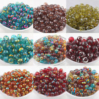 20/50Pcs Round Spun Silver&Golden Plated Glass Loose Spacer Charm Bead DIY 6 8mm