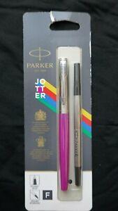 Parker Jotter Rollerball Fine Point Refillable Pen Magenta Black Ink 2096891