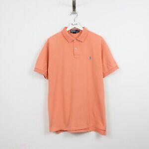 J63 Ralph Lauren Polo Men Orange Cotton Short Sleeve Pique Top Shirt Size L
