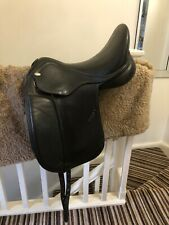 17.5 Inch Jorge Canaves Black Leather Celebration Dressage Saddle Extra Wide
