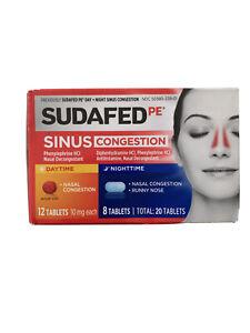 Sudafed PE Sinus Congestion Day + Night Decongestant Tablets 20ct
