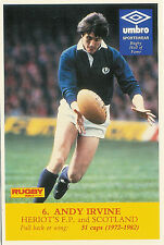 Andy Irvine, Heriot's FP & Scotland Rugby World & Post series postcard