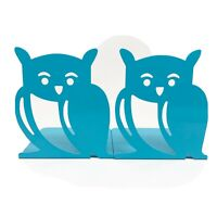 Pair Of Metal Owl Teal Turquoise Green Bookends