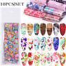10Pcs/set Retro Flower Nail Foils Butterfly Transfer Decals Nail Art Decoration